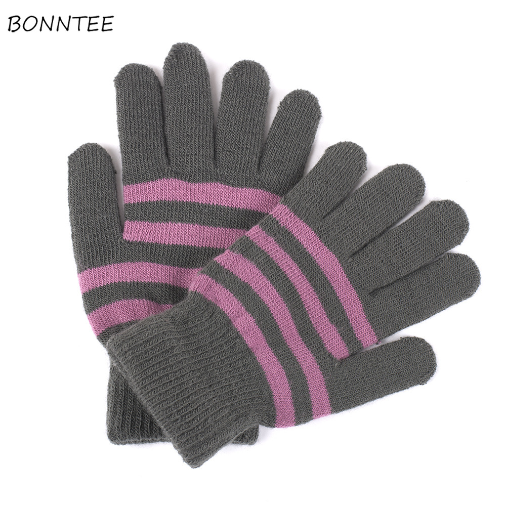 Gloves Women Knitted Fashion Striped Cold-proof Thicker Womens Simple Full Finger Simple High Quality Elastic Winter Warm Mitten