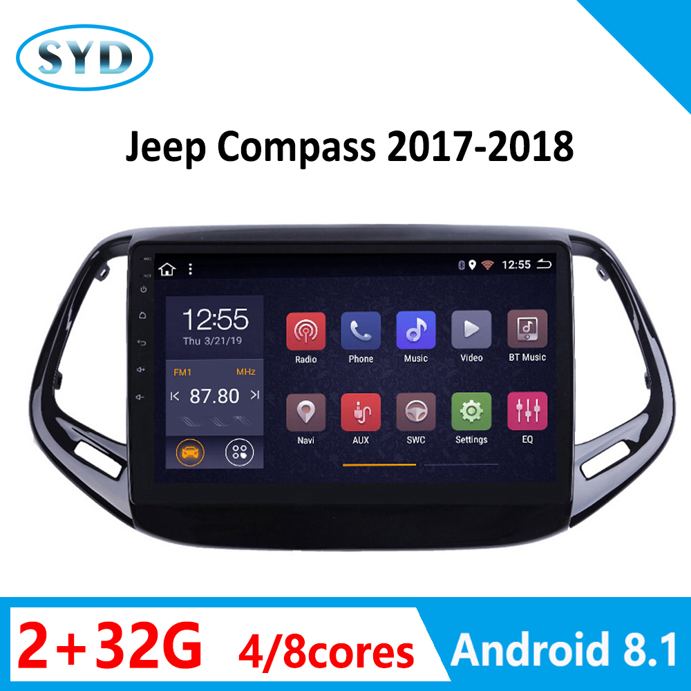 <font><b>Car</b></font> <font><b>Radio</b></font> For Jeep Compass 2017 2018 RAM 2G Multimedia Player Video Audio Stereo GPS Navi System WIFI <font><b>1</b></font> <font><b>DIN</b></font> Android 8.<font><b>1</b></font> <font><b>RDS</b></font> AM image