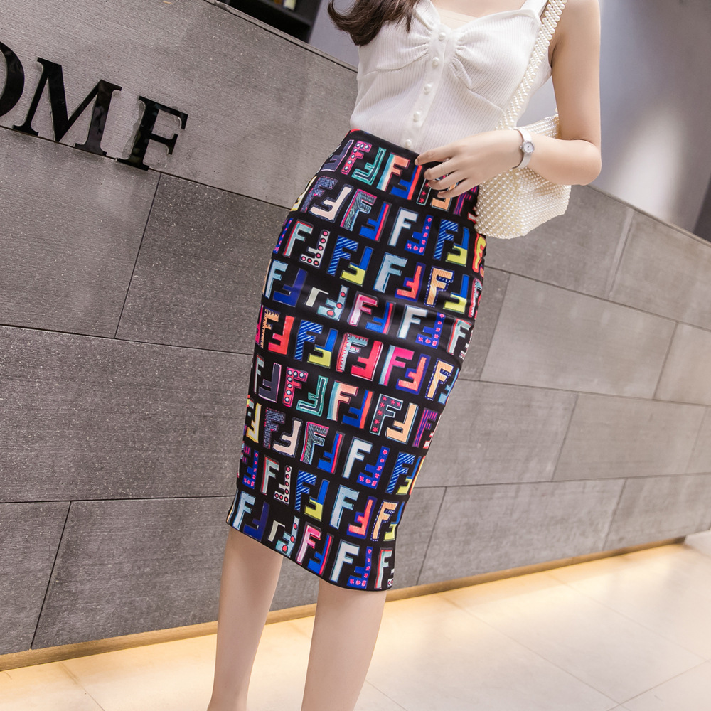 Skirt 2019 Spring And Summer New Style High-waisted Floral Skirt Korean-style Slit Medium-length Dress Printed One-step Skirt