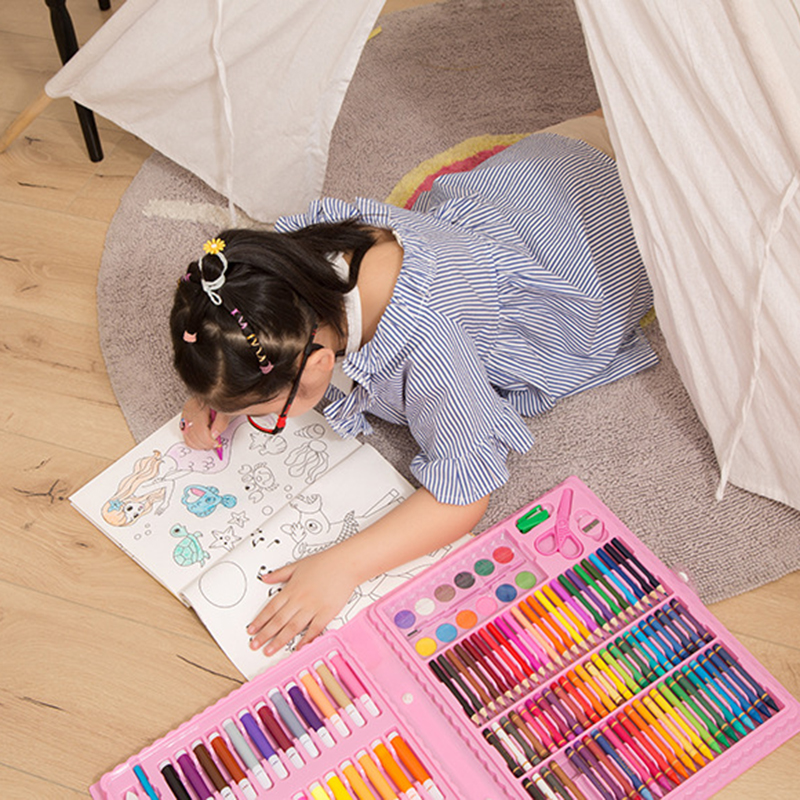 86Pcs  Portable Practical New Children Water Color Pen Crayon Painting Set Oil Pastel Brush Drawing Tool