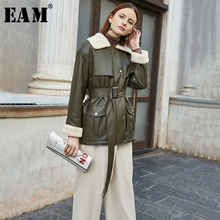 Long-Sleeve Jacket Women Coat Green Bandage Loose Fashion Big-Size EAM Split Tide Fit