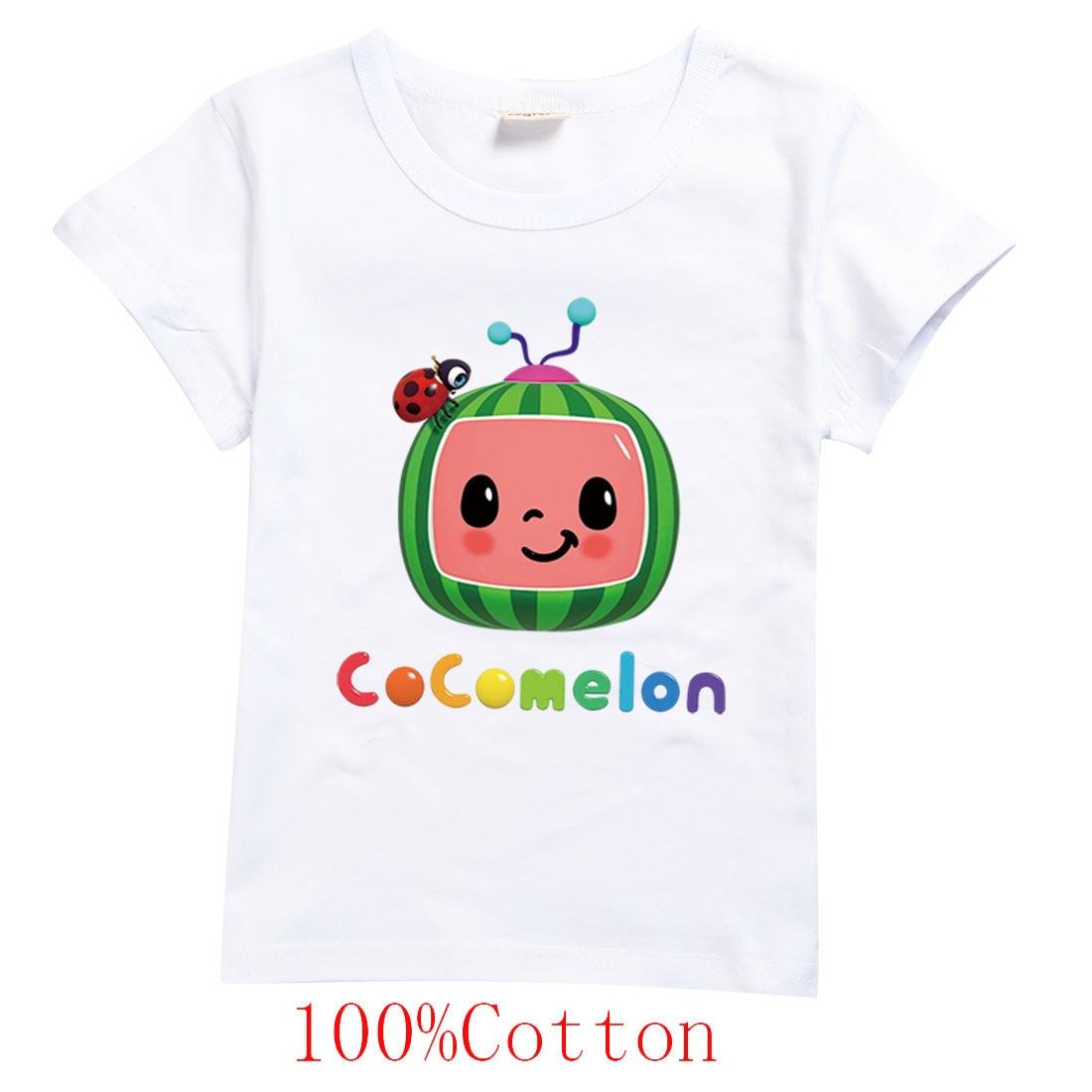 Funny Clothes Toddler Girls Cocomelon T Shirt Kids Rainbow Watermelon Ladybug Print T-shirt for Boys Short Sleeve Tshirts Casual