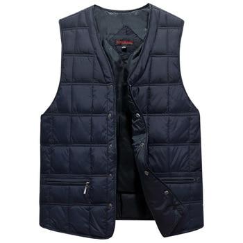 Winter Dresses Men White Duck Down Causal Vest Ultra Light Male Thick Sleeveless Down Jacket Men Warm Vest L-5XL Plus Size