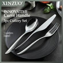 XINZUO 3pcs Stainless Steel Steak Knives Cutlery Western Style Table Dinnerware Set Tableware Dinner Knife For Table Decoration
