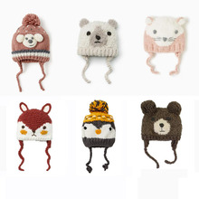 Baby Cute Cartoon winter hat Rabbits foxes bear Hat Knitted 2019 Winter Toddler Girl Boy Warm Cap