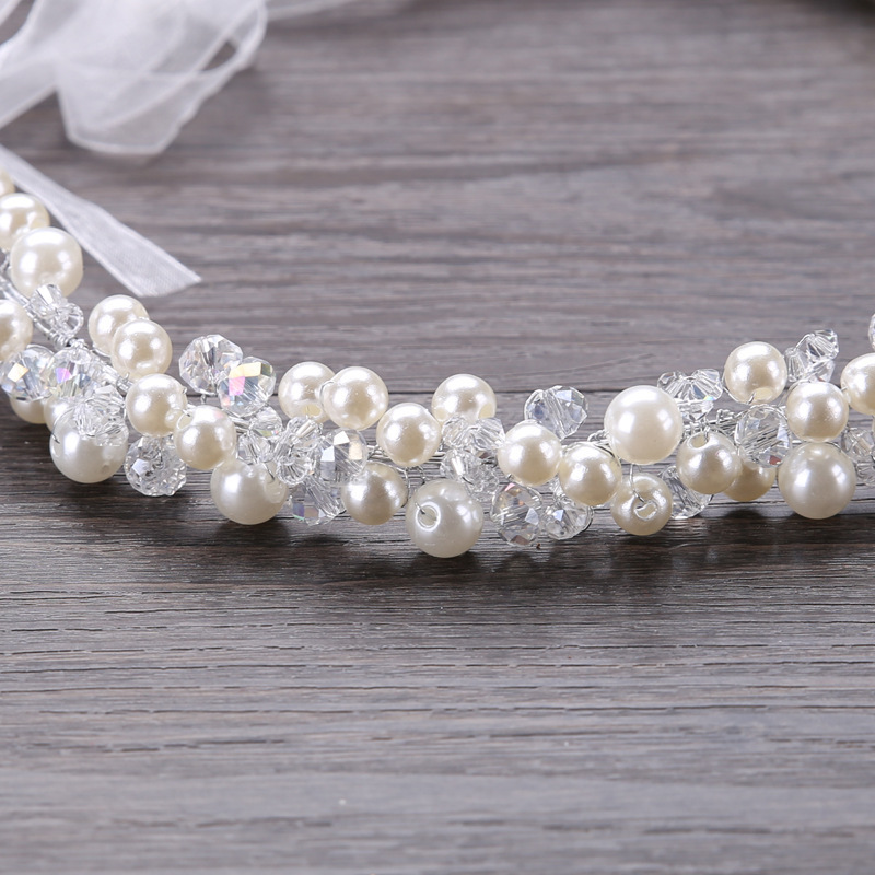 Bridal Handmade Pearl Hair Band Crystal Headdress Wedding Dress Accessories Hair Band Bridal Jewelry