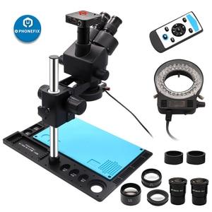 Image 2 - Тринокулярный Стерео микроскоп 3,5x 90X, цифровая видеокамера 14 МП 16 МП 21 МП 38 МП HDMI, микроскоп для телефонной пайки
