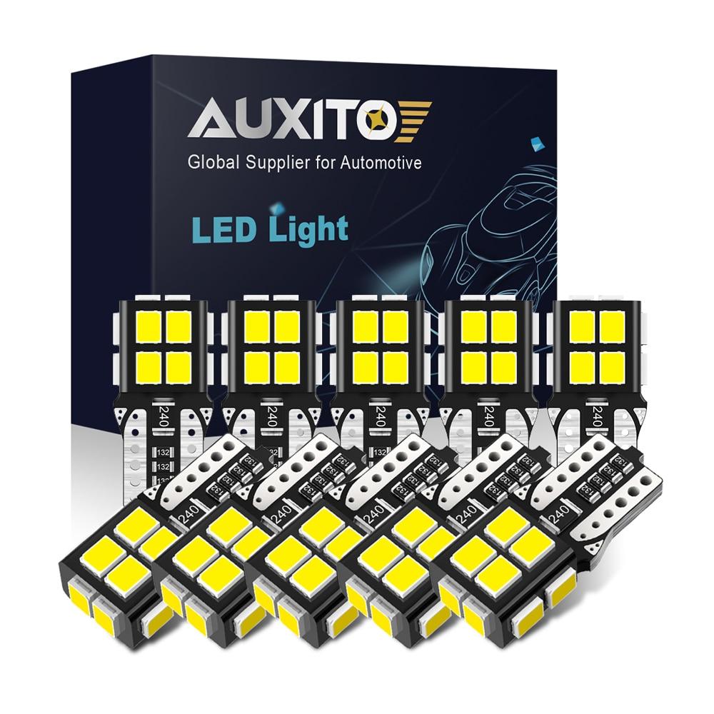 AUXITO NEW 10Pcs T10 LED Lights 2835 SMD W5W LED Bulb Canbus No Error Car Interior Lighting Automotive Dome Lamp 6000K White