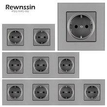 Toma de corriente de cristal gris para el hogar, enchufe de pared estándar europeo para mejorar la toma de corriente, Individual/doble/triple/cuádruple