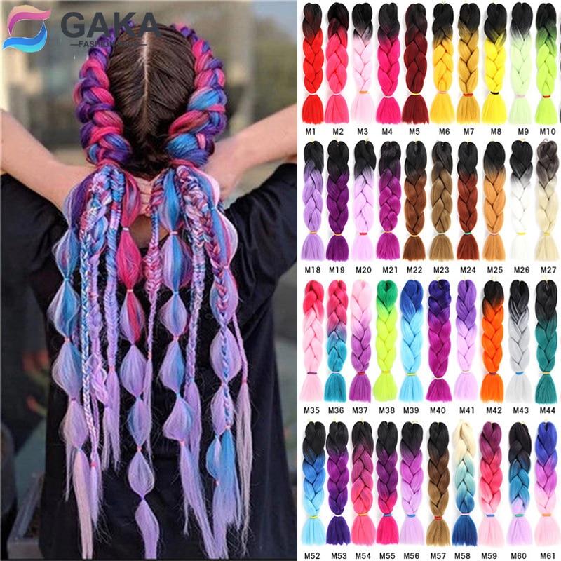 GAKA женские длинные Омбре светящиеся Твист Синтетические плетеные волосы удлинитель 24 дюйма Джамбо косы розовый блонд зеленый два цвета