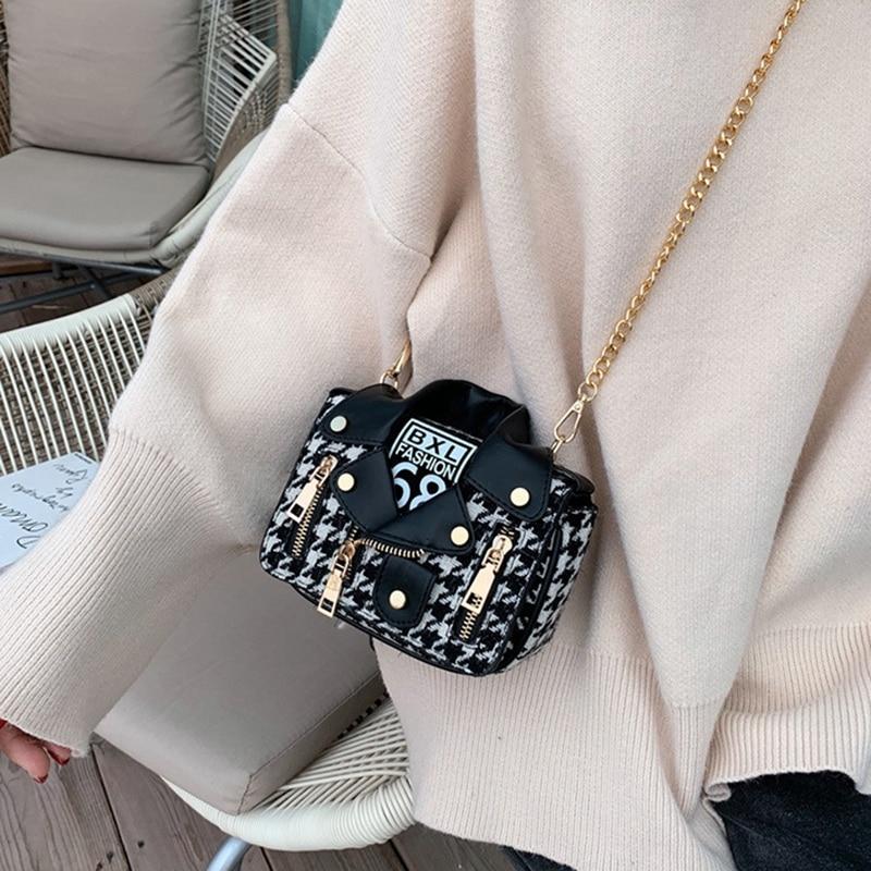 New Shirt Shape Women Cotton Linen Leather Shoulder Bag Handbag Chain Small Square Bags