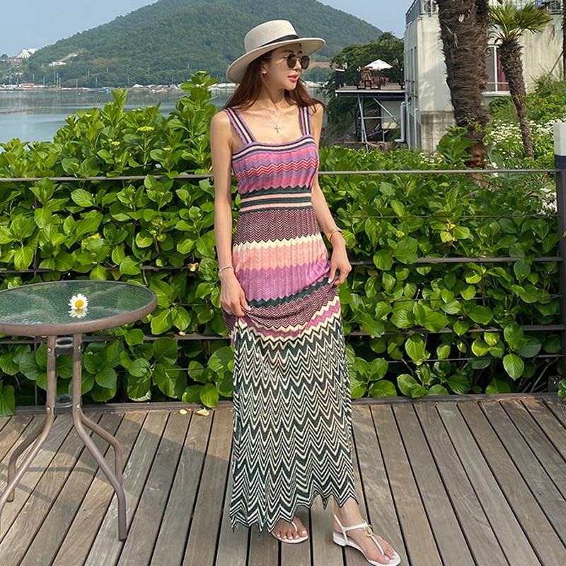 2020 summer new Korean temperament suspenders waist knit color matching big swing holiday dress
