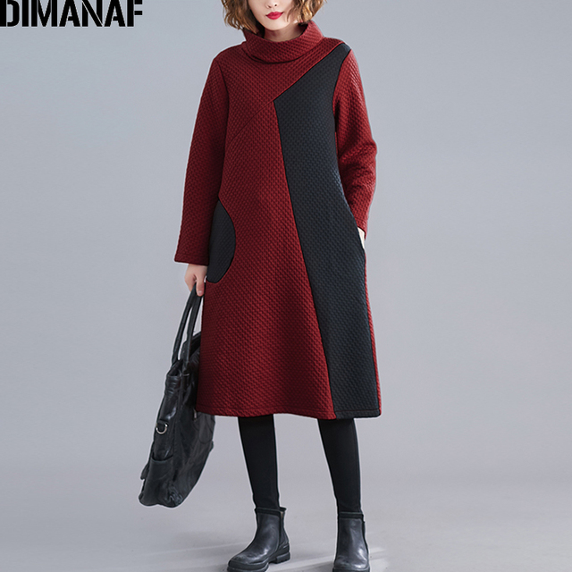 DIMANAF 女性のドレスヴィンテージ長袖冬秋厚い綿の女性ゆるいカジュアルな女性の Vestidos タートルネックパッチワークドレス