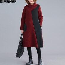 DIMANAF Women Dress Vintage Long Sleeve Winter Autumn Thick Cotton Female Loose Casual Lady Vestidos Turtleneck Patchwork Dress