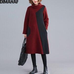 Image 1 - DIMANAF, женское платье, Ретро стиль, длинный рукав, зима, осень, толстый хлопок, женское, свободное, повседневное, Vestidos, водолазка, платье в стиле пэчворк