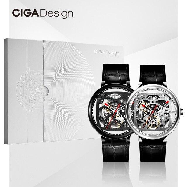Ciga Ontwerp Ciga Horloge Dubbele Gebogen Volledige Hollow Automatische Mechanische Horloge Retro Horloge Waterdicht Mechanische Horloge