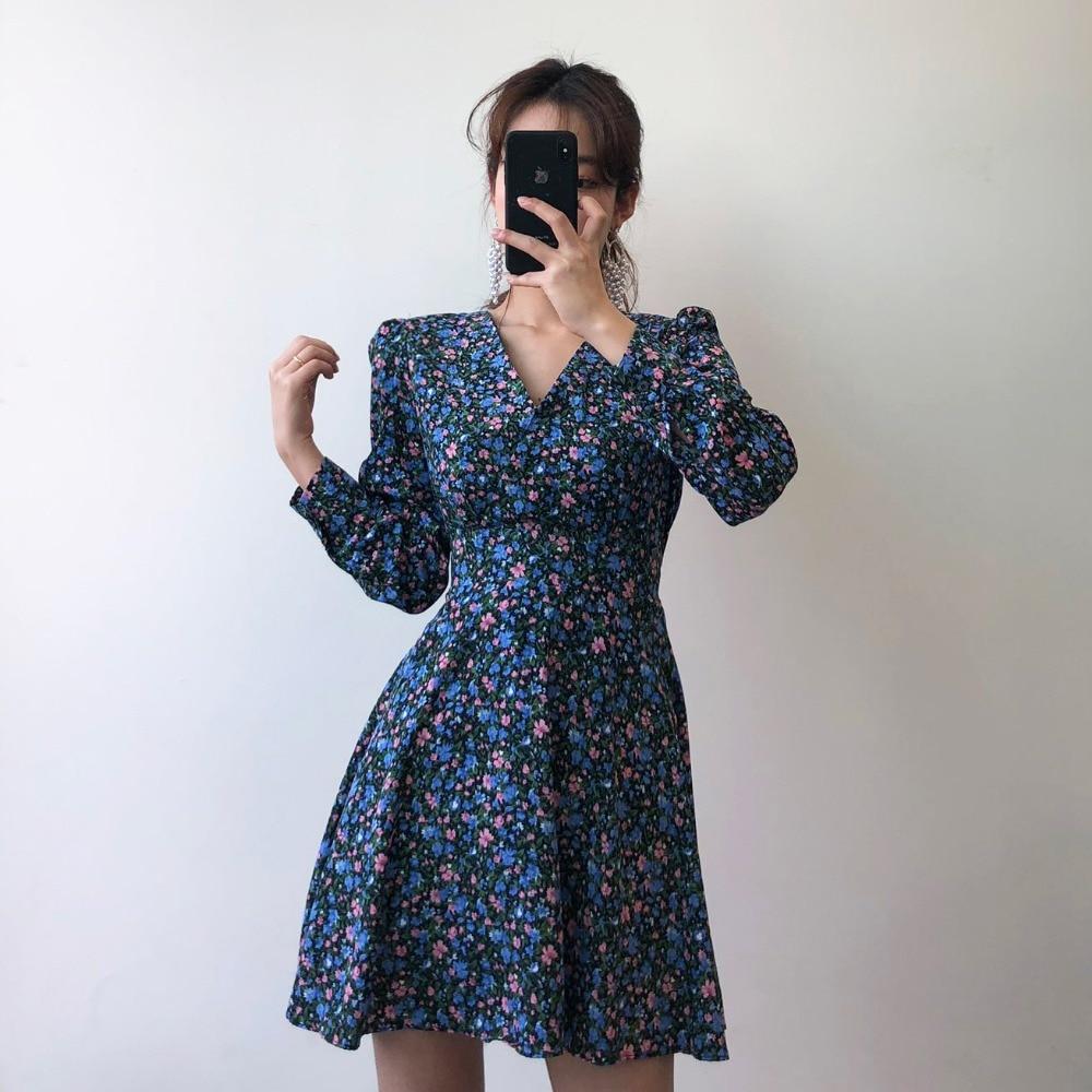 Hddae094d025647a6bbbf12dc3278110bq - Autumn V-Neck Long Sleeves Floral Print Mini Dress