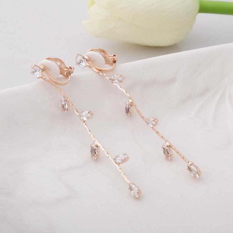 JIOFREE  Long Tassel Rhinestone crystal Clip on Earring no pierced for Women luxury jewerly