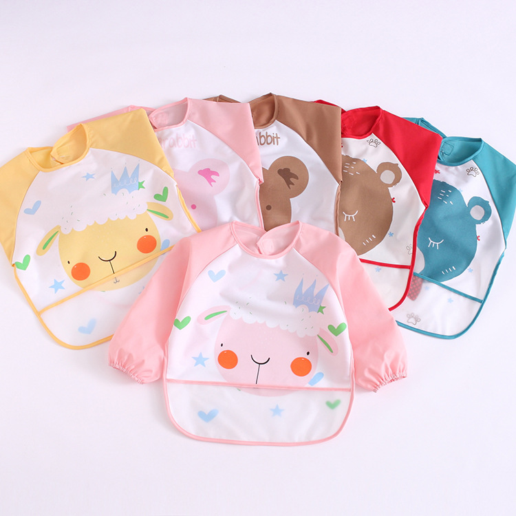 A Class Infant Long Sleeve 2-piece Pack Bib Overclothes Waterproof Children Painting Clothes Cartoon Baby Pinny Apron