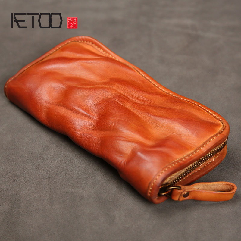AETOO Leather Men's Long Zipper Retro Wallet Handmade Old Leather Wallet Youth Large Capacity Multi-card Wallet