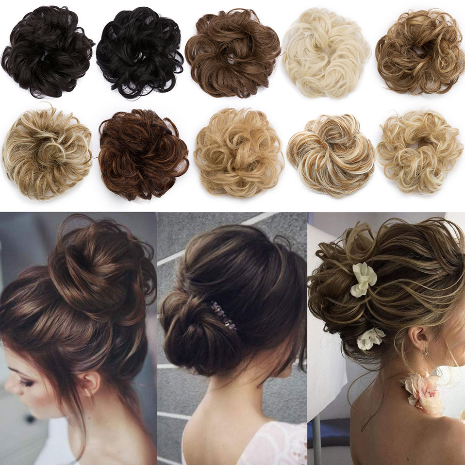 S-noilite Bun Curly Updo Cover Donut Chignon Synthetic Hair Women Drawstring Ponytail  Hairpieces Black Brown 30g