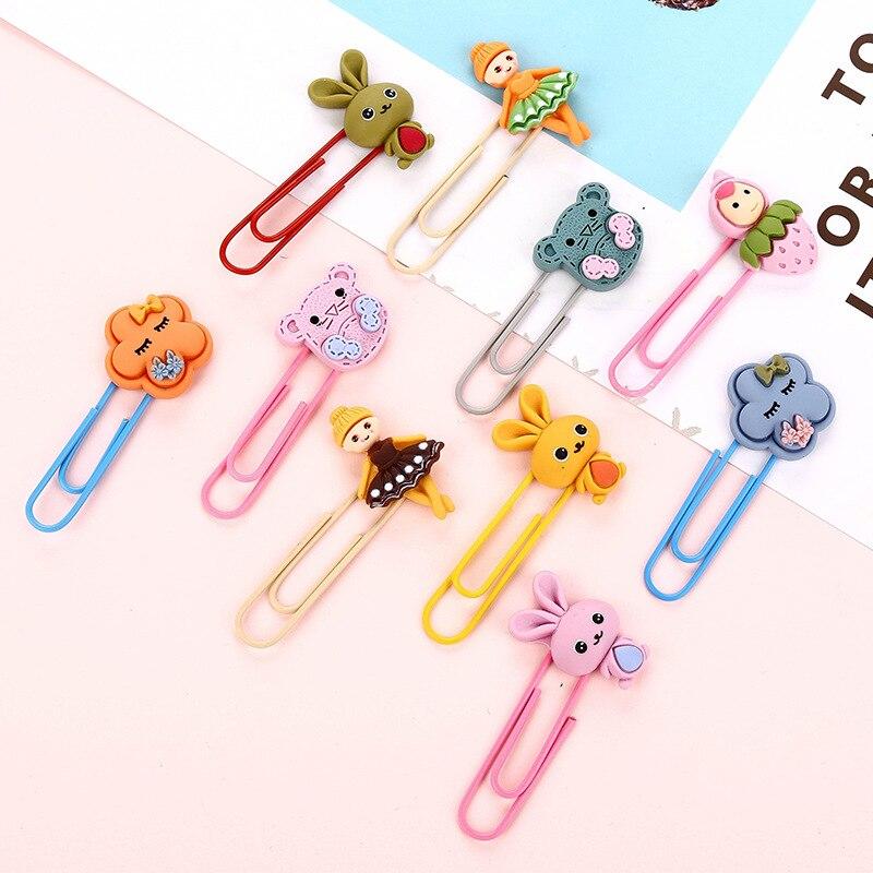 60 Pcs/lot Cartoon Rabbit Mouse Flower Girls Bookmark For Book Cute Binder Clips Notes Letter Paper Clip Office School Supplies