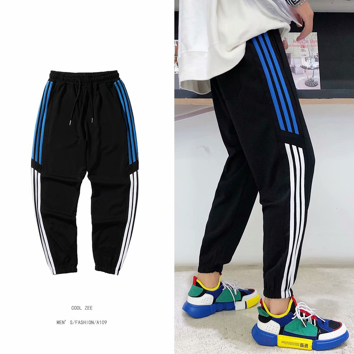 Hong Kong Style INS MEN'S Pants Autumn Students Beam Leg Athletic Pants BF Hip Hop Loose-Fit Popular Brand Stripes Casual