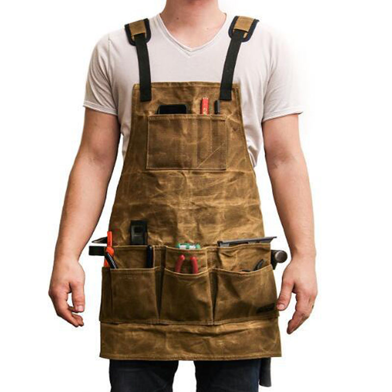 Canvas Apron With Tool Pockets Cross-Back Straps & Adjustable Storage Apron With Genuine Leather Adult Bib Heavy Duty