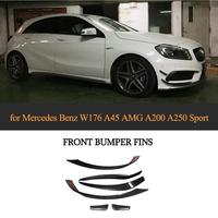Car Front Bumper Splitter Fin Canards Spoiler for Mercedes Benz A180 A200 A250 AMG A45 2013 2016 Car Fog Lamps Trims