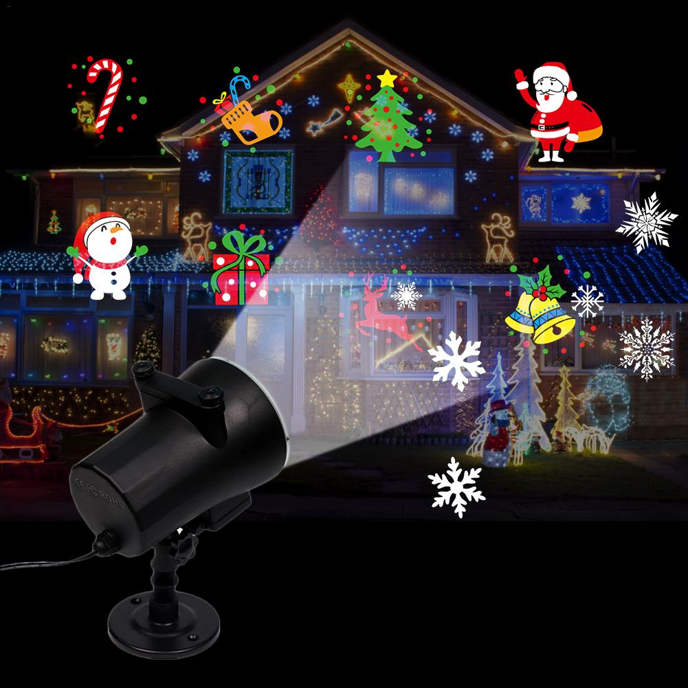Christmas Projector Lights 12 Patterns Waterproof Decorations Indoor LED Moving Light For Holiday Party Garden Lamp