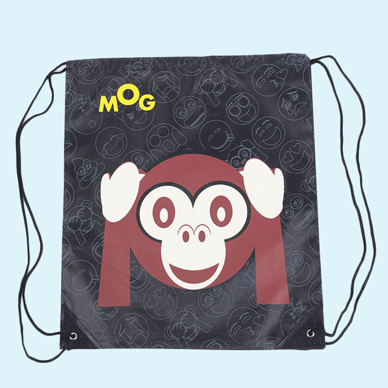 Outdoor Cute Expression Sports Shoulder Drawstring Clothing Storage Bag (Monkey Pattern)