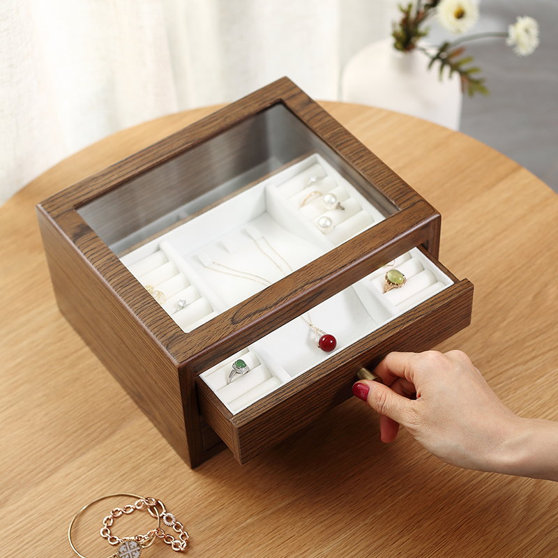 Casegrace Large Wooden Jewelry Box Organizer With Drawer Glass Display Wood Earring Ring Necklace Jewellery Storage