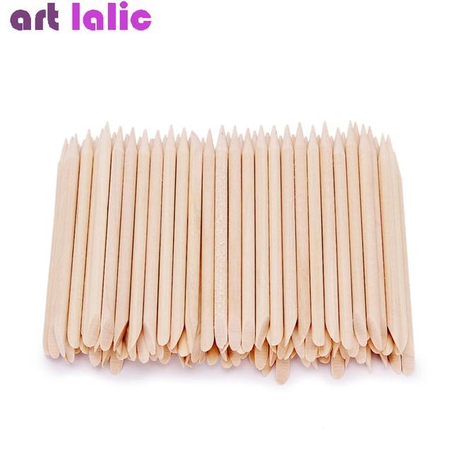 100 Pcs Nail Art Design Orange Wood Stick Sticks Cuticle Pusher Remover Manicure Pedicure Care 4