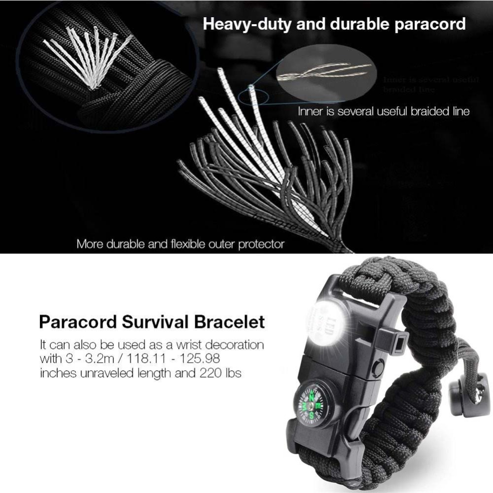 Survival Bracelet Paracord With SOS Lamp Compass Whistle Knife Outdoor for Men Women Camping Tourism SOS Emergency Kit (58)