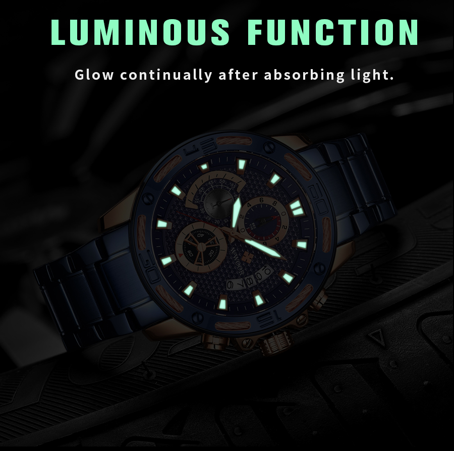 WWOOR 2020 New Men Watches Top Brand Luxury Gold Stainless Steel Quartz Watch Men Waterproof Sport Chronograph Relogio Masculino