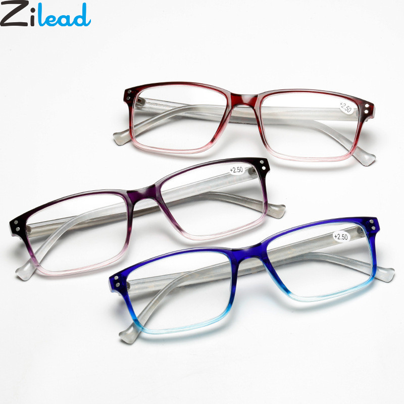 Zilead Square Gradient Floral Reading Clear Lens Presbyopic Eyeglasses Eyewear For Women&Men+1.0+1.5+2.0+2.5+3.0+3.5+4.0