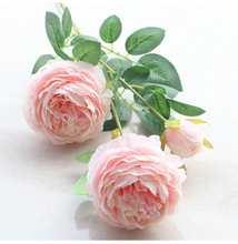 Fleur artificielle de pivoine à 3 têtes, style européen, fausse fleur, pour décorer la maison, pour un mariage