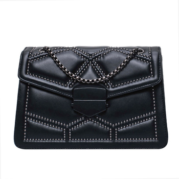 Rivet Chain Brand Designer PU Leather Crossbody Bags For Women 2021 Simple Fashion Shoulder Bag Lady Luxury Small Handbags 6