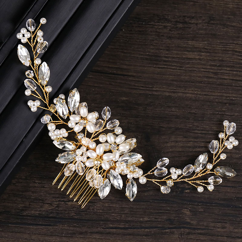 High Fashion Gold Crystal Simulated Pearl Hair Combs Clip Noiva Bridal Bride Wedding Veil Hair Jewelry Decoration Headband