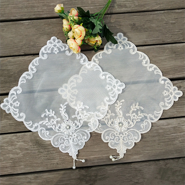 Korean Tulle Lace Embroidery Tassel Table Coaster Beaded Wedding Napkins Christmas Placemat Tea Towel Doily Kitchen Home Decor(China)
