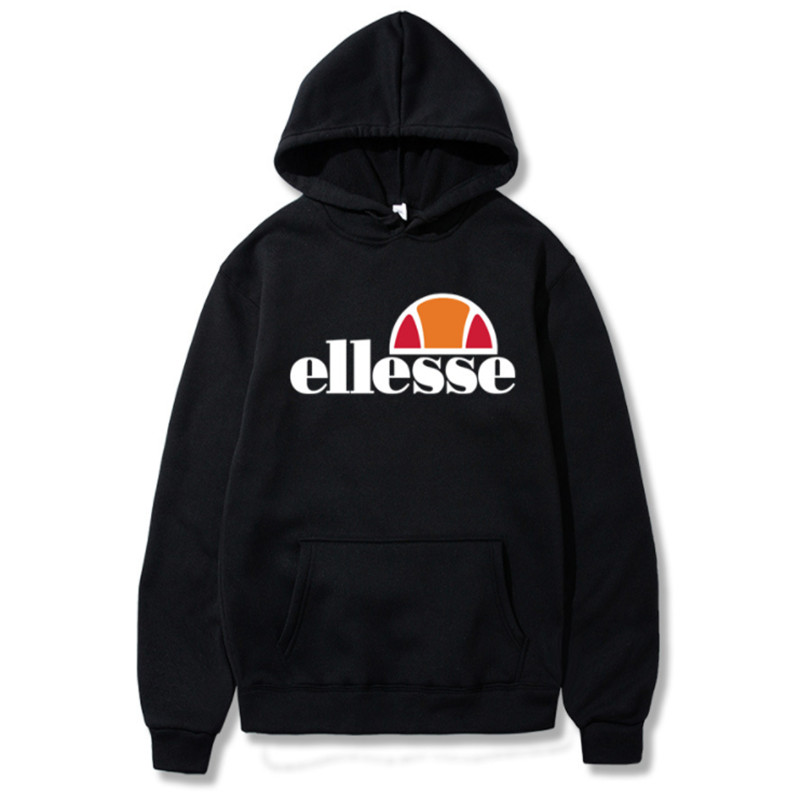 Pullover Hooded Hoodies Ellesse Tide-Letter Printing Loose Solid-Color Casual Unisex