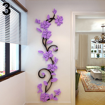 New Fashion Home Living Room Decorations Wall Stickers 3D Flower Removable DIY Wall Sticker Decal Mural 5