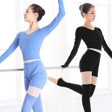 Traje de baile de Ballet para mujer, jersey de 2 piezas con pantalones cortos, Otoño Invierno, cálido, para adultos, trajes de baile de punto para Ballet