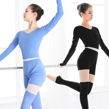 New Style Women Ballet Dance Suit 2 Pieces Sweater Tops with Shorts Autumn Winter Warm Adult Knit Costumes for - discount item  12% OFF Stage & Dance Wear