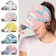 1pc moda Unisex mężczyźni kobiety Tie-dyed Sun Hat regulowana czapka z daszkiem czapka hip-hopowa kucyk roztrzepany kok czapki bawełniana letnia czapka z siateczką