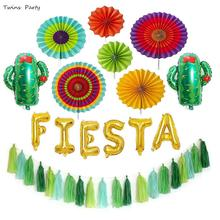 Twins Party Fiesta Decorations Balloon Banner Cactus Foil Balloons  Fruit Summer Supplies