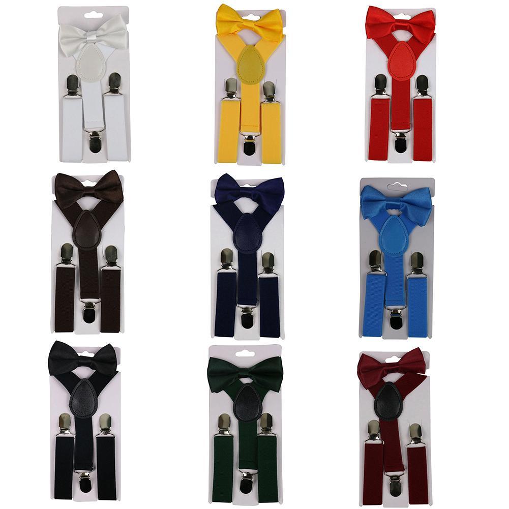 Hot 2Pcs/Set Solid Color Kids Boy Girls Clip-on Y-Shape Elastic Suspenders Bowtie
