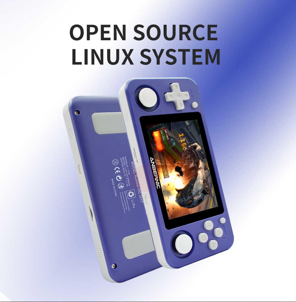 RG351P anberonic ريترو لعبة PS1 RK3326 64G نظام مفتوح المصدر 3.5 بوصة IPS شاشة محمولة وحدة تحكم بجهاز لعب محمول RG351gift 2500