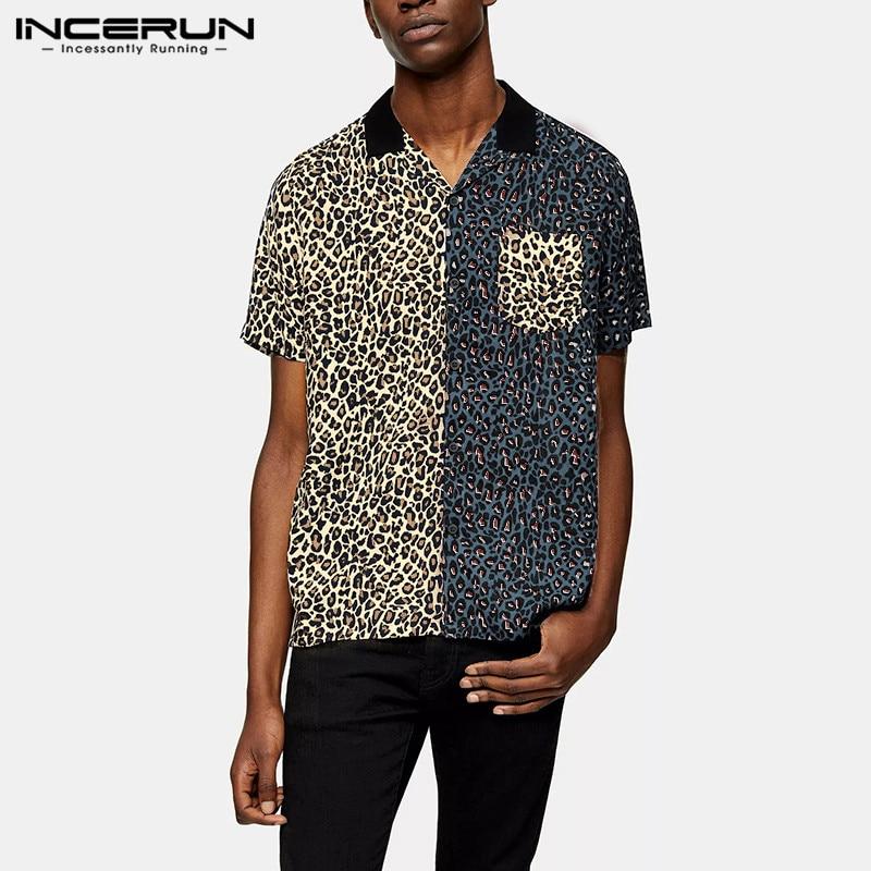 INCERUN 2020 Fashion Men Shirt Leopard Patchwork Short Sleeve Summer Casual Brand Shirts Lapel Streetwear Chic Camisas Plus Size