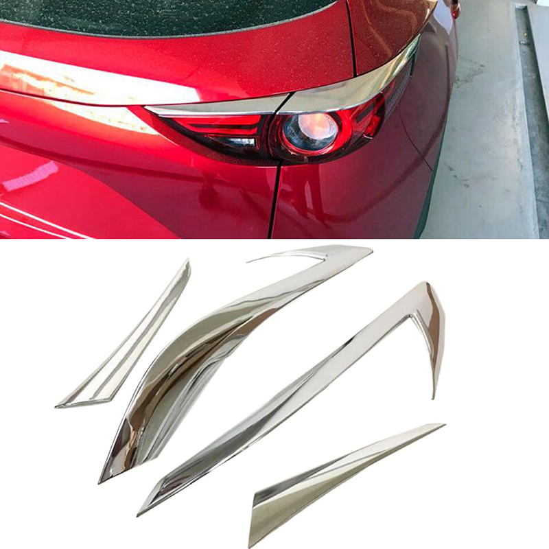 ABS Chrome Rear Tail Light Eyebrow Cover Trim 4pcs For Mazda CX 5 CX5 2nd Gen 2017 2018 Car styling abs chrome trim cover tail light covers - title=